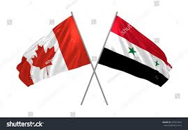 Giant Canadian Flag 3d Illustration Canada Syria Flags Waving Stock Illustration