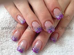 glitter nails gel nails purple and silver nail art nails