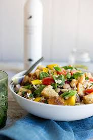 Ina Garten Panzanella Salad Spinach And White Bean Panzanella Salad With Basil Vinaigrette