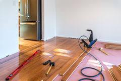 Hardwood Floor Installation Tools Hardwood Floor Installation Stock Image Image 3983271