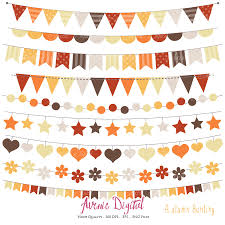 Thanksgiving Flags Autumn Bunting Banner Clipart Scrapbook Printable Vector