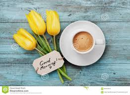 coffee mug with yellow tulip flowers and notes good morning on