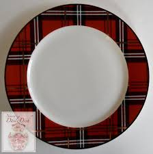 tartan plaid black porcelain bread snack plates set of 4 new cir