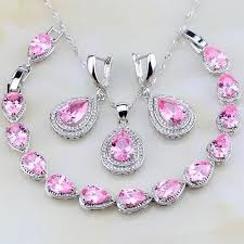 silver pink necklace images Pink created sapphire 925 sterling silver jewelry set jpg