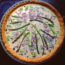 asparagus tart with edible chive petals edible flowers available