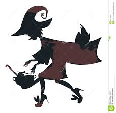 flying witch halloween flying witch on broom with witch cauldron stock vector image