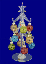 lsarts miniature glass christmas tree with swirly glass ornaments 8