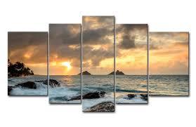 Hawaiian Decor For Home Amazon Com Blue 5 Piece Wall Art Painting Sunrise At Lanikai