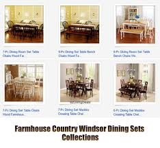 Bench And Chair Dining Sets 6 Pc Farmhouse Dining Room Set Table Bench Chairs Country Wood