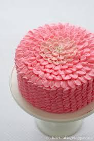 i heart baking pink ruffle flower chocolate mousse layer cake