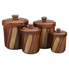Canisters For The Kitchen Sango Avanti Brown Canisters Set Of 4 Walmart Com