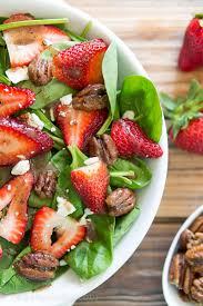 strawberry spinach salad with candied pecans i wash you dry