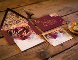 wedding invitations burgundy picture of burgundy and gold leaf wedding invites watercolor