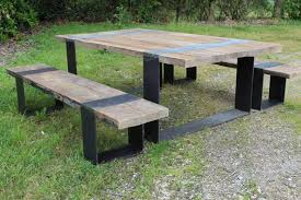 Bench And Table Set Contemporary Bench And Table Set Wooden Exterior Garden