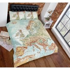 Vintage Duvet Cover Vintage World Map Duvet Cover U2013 Reversible Bedding Natural Blue