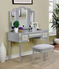 rose gold vanity table clarisse 3pcs vanity table set with mirror stool in silver rose