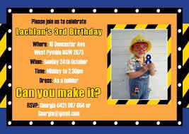 Children Birthday Invitation Card Boy Birthday Party Invitation With Builder Construction And Rivet