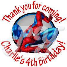 spiderman personalized birthday stickers