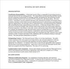 Military Police Job Description Resume by Security Officer Job Description Template U2013 13 Free Word Pdf