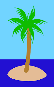 simple palm tree on tropical island free clip