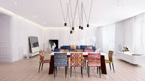 Dining Room Eclectic Dining Room Features Colorful Woven Fabric - Woven dining room chairs