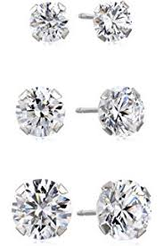 earrings you can sleep in 10k white gold stud earring set with cut swarovski