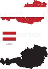 austria map vector austria country black silhouette and with flag on background