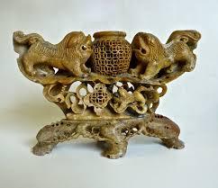 foo dog soapstone temple lion incense burner hand carved