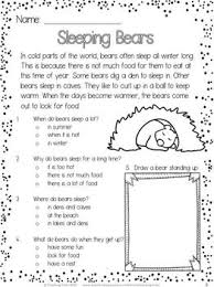 free winter reading comprehension passage sleeping bears