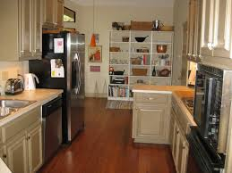 galley kitchen ideas with big space saving and wooden floor