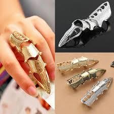 finger rings pictures images Punk vintage armor joint knuckle metal full finger rings at banggood jpg