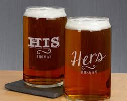 his and hers glassware can glass etsy