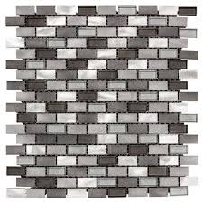 instant mosaic 12 in x 12 in peel and stick brushed stainless