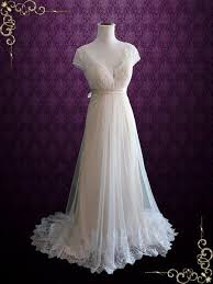 champagne whimsical empire lace tulle beach wedding dress with cap
