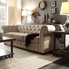 beige sofa rolled arm couch vintage button tufted linen living