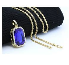 rope chain necklace men images Hip hop necklace mens gold color iced out blue rhinestone octagon jpg