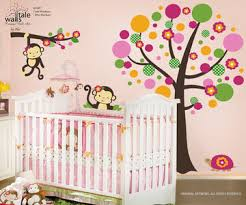 Nursery Monkey Wall Decals Miss Monkey Wall Decal For Nursery With Large Tree And Turtle