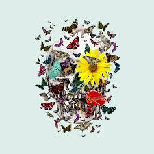 skull flowers animals on mint butterflies digital by notsniw