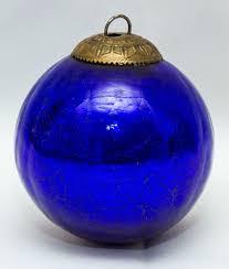vintage cobalt blue midwest kugel glass ornament heavy