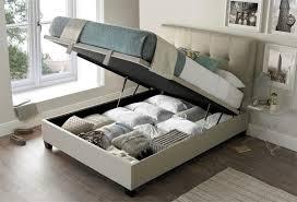 walkworth oatmeal fabric ottoman storage bed by kaydian 5ft kingsize