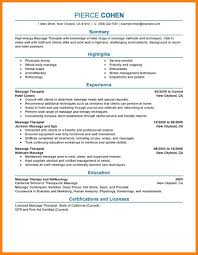 Massage Therapy Resumes 100 Sample Massage Therapist Resume 7 Spa Therapist Cover