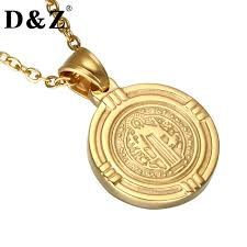 catholic pendants d z gold color benedict medal necklaces stainless