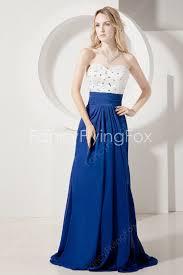 white and royal blue chiffon a line full length bridesmaid dresses