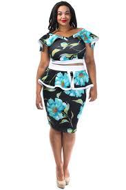 garden floral 2 piece plus size peplum skirt set u2013 plussizefix