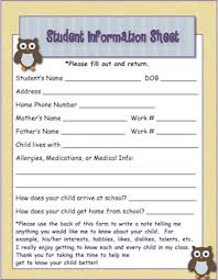 owl theme student information page classroom freebies students