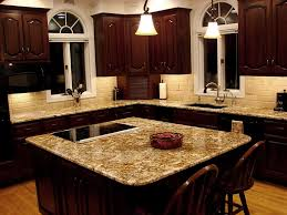 completed kitchen mocha maple shaker cabinets exotic granite