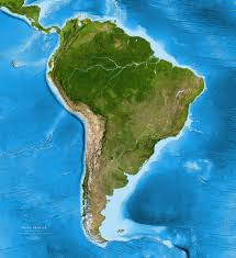 South America Map Labeled by South America Satellite Image Giclee Print Enhanced Physical