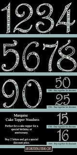 number cake topper marquise cut monogram cake topper numbers