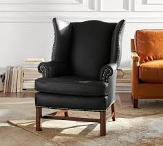 Leather Wingback Chair Thatcher Leather Wingback Chair Black Pottery Barn