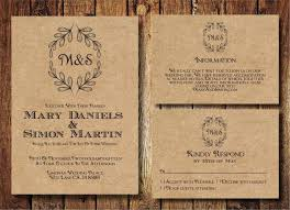 Wedding Invitations Rustic Rustic Wedding Invitation Template Set Kraft Paper Wreath Casual